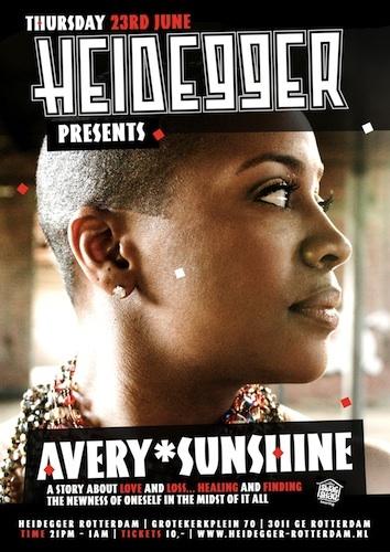 Flyer Avery Sunshine Heidegger Rotterdam 23 Juni